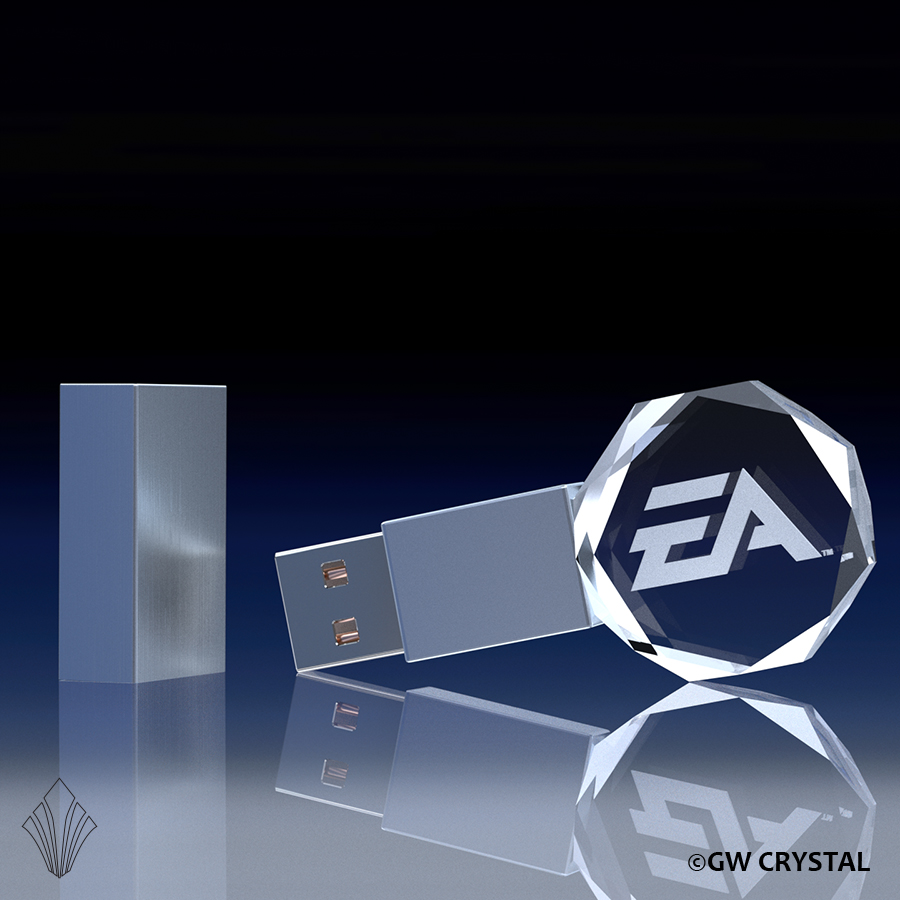 Circular Beveled Crystal Flash Drives